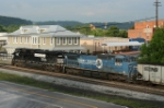 NS EB coal train waiting for crew by the Virginian depot
