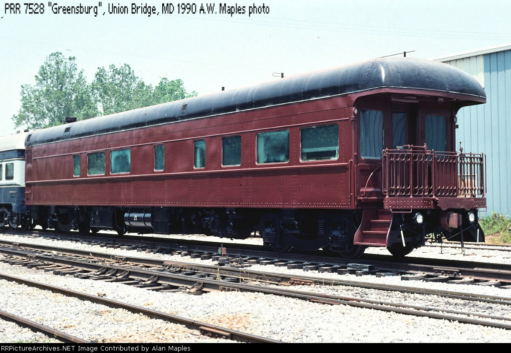 """PRR 7528, known as """"Catoctin"""" on the EnterTRAINment Line, June 1990,"""