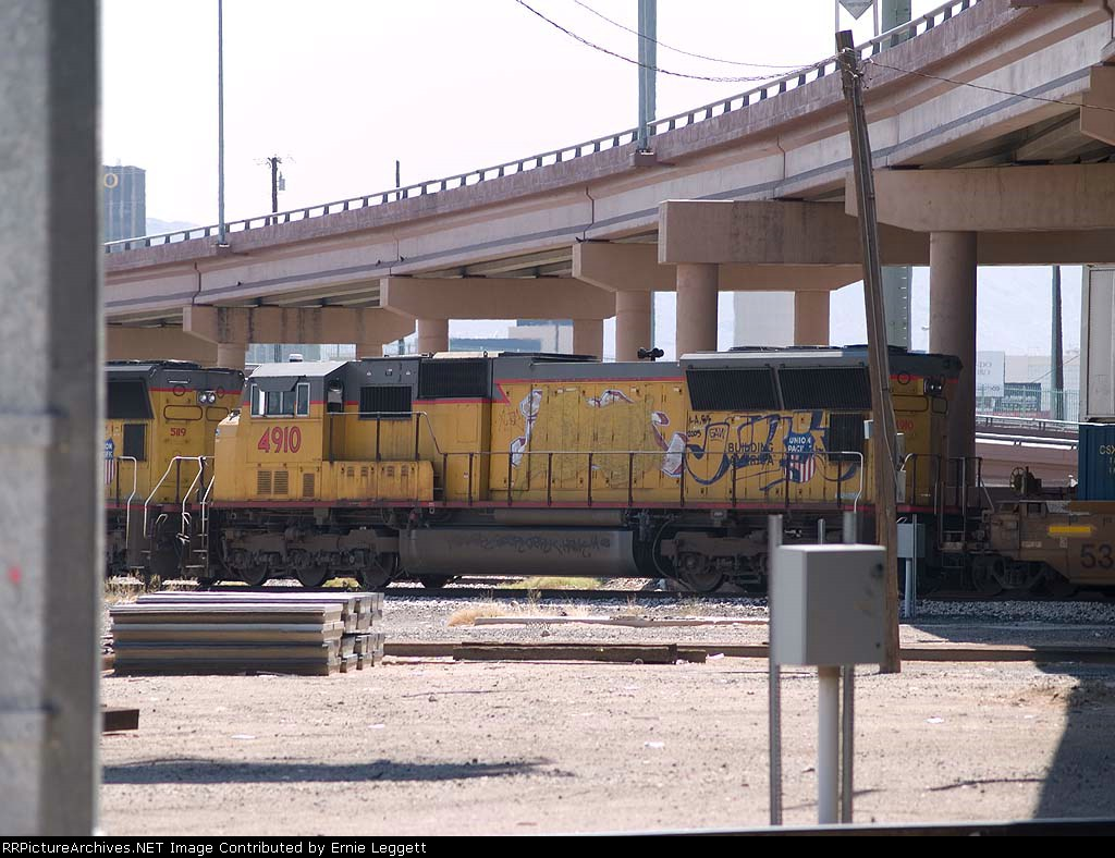 UP 4910 #2 power in a WB doublestack at 2:46pm