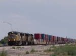UP 4012 leads a WB doublestack at 12:12pm