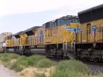 UP 8401 #3 power in an EB doublestack at 12:48pm