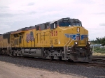 UP 7625 leads an EB doublestack at 3:53pm