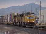 UP 4107 leads an EB doublestack KCIAT City of Industry CA to Atlanta at 4:55pm