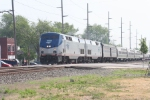 """A Late running """"Late For sure Limited"""", Amtrak train 49, rolls west through town"""