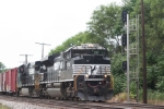 Eastbound NS tonnage, with an SD70M-2, approaches the C&O diamonds
