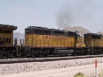 UP 3185 #4 power in a WB doublestack at 1:11pm