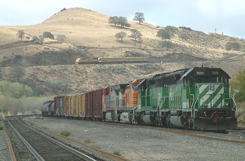 BNSF Eastbound waits for UP Passenger train