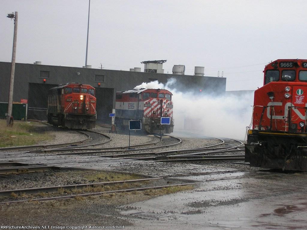 BCOL 4622 smoking away at Toronto Mack Yard