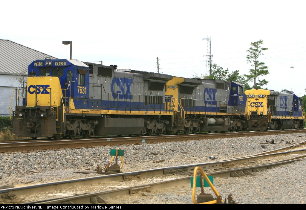 CSX 7631, 7850, and 5515 in the Taft Yard