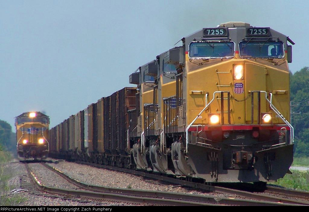 Northbound Detoured Empty Coal Train Passing a Tied Down Northbound Manifest