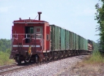 Southbound MNA Loaded Ballast Train With a MP Caboose