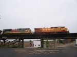 UP 6453 and KCS 4014 (Rainy Morning)
