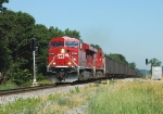 CP 8754 Lugs an Eastbound Coal Train Through the Camp Douglas Siding East Switch