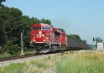 CP 8754 Lugs an Eastbound Coal Train Through the Camp Douglas Siding East Switch