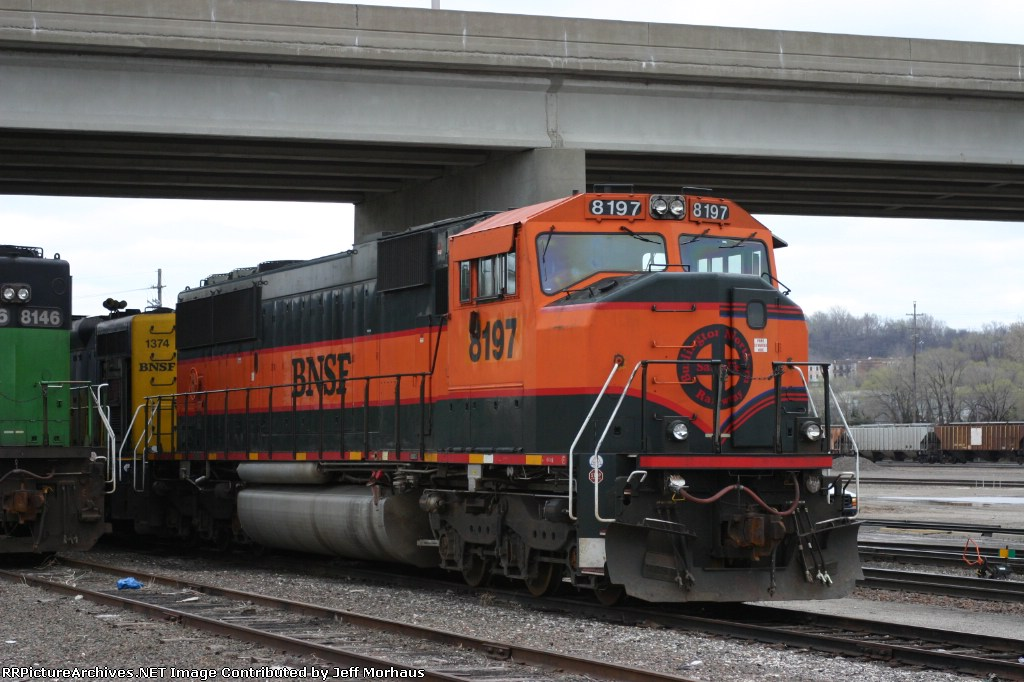 BNSF 8197 and others sits in storage at the locomotive shop in BNSF's Argentine Yard.