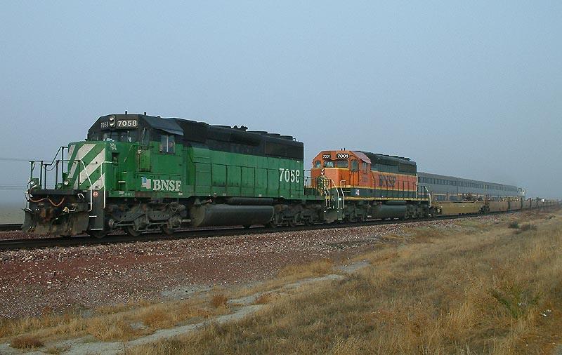 BNSF Southbound meets Amtrak