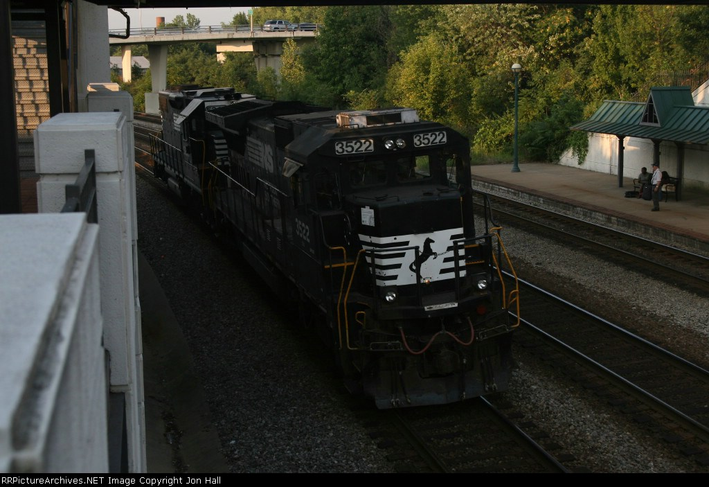 NS 3522 & 5266 running light through the station as passengers await the arrival of the Hoosier State