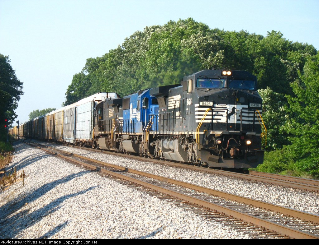 121 racing west past the east end of the siding