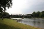 Q642 rolling across the bridge over the Wabash River