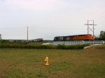 BNSF 7749 & NS 9765, the power for 14E, move away from the train to make the pick up from North Yard