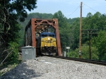 CSX 465 crosses the bridge with TVA train