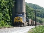 Pusher engine CSX 135 on rear of TVA train starting climb over Duff Mtn,