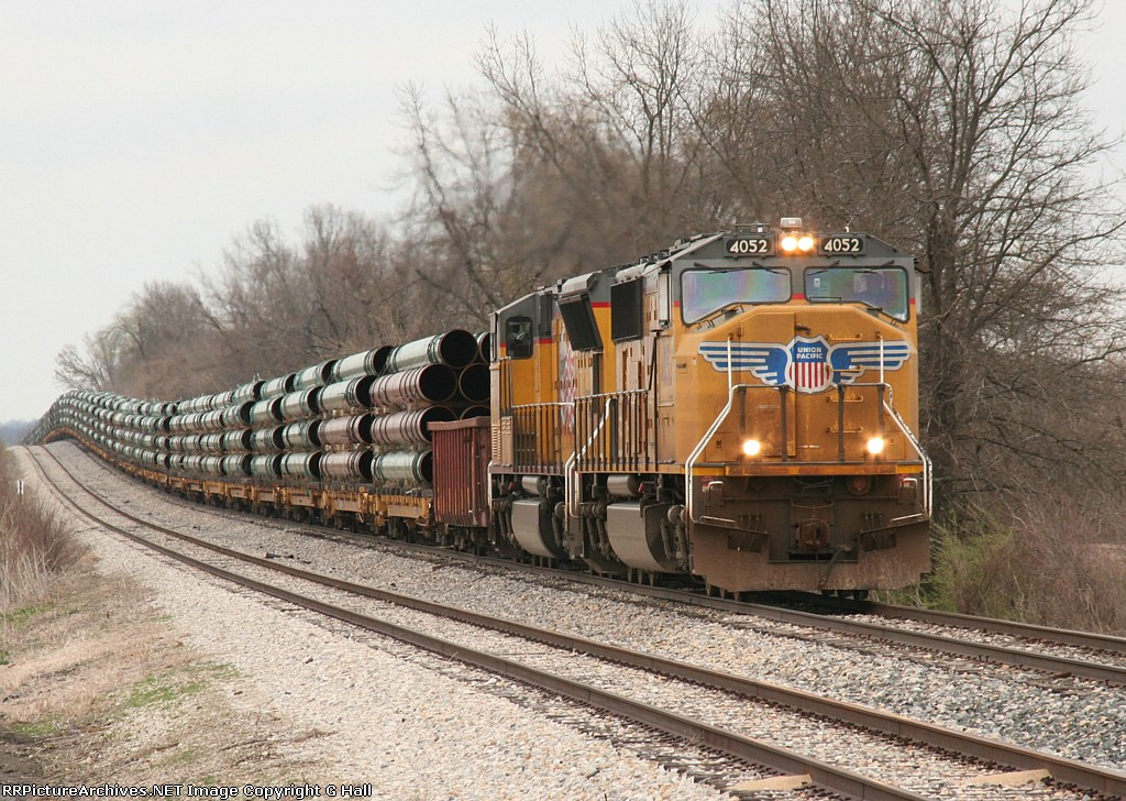 UP 4052 and 50 pipe loads