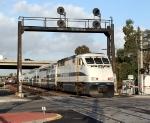 Santa Fe signal bridge frames Metrolink
