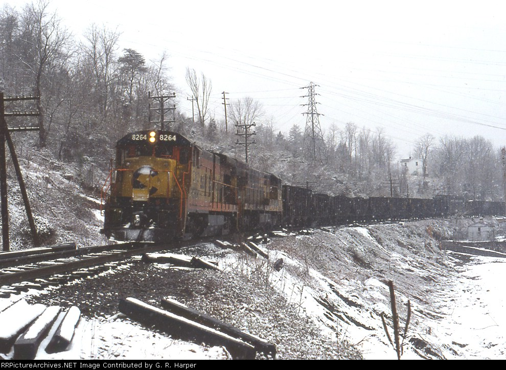 Chessie System GE in light snow at the dam
