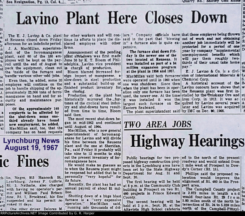 Article from Aug. 19, 1967, describing the Lavino plant shutdown.  This time it was permanent.