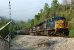 Oil train empties, K08105, with CSX power (odd on these things) WB at the Reusens dam transformer yard