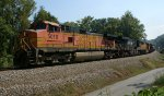 BNSF 5010 westbound on empty CSX CBR train K08101