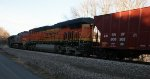 BNSF 7318 is the trailing unit on the K08127 westbound oil mtys