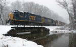 794 - H74425 local freight returning to Lynchburg crossing Judith Creek in heavy snow