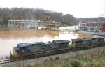 218 - CSX westbound passes muddy, slightly swollen James river