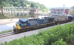 Q30315 with a single oonit, CSXT 388,  passes the filling up Reusens pond