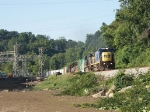 "Tele of Q69918 as it passes the ""Reusens Hydroelectric Project"" at MP CAB 150.8 on the CSXT James River SD."