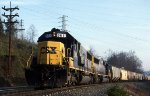 CSXT 8611 brings a train east