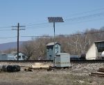 Newly installed solar-powered rail greaser