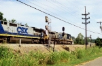 CSXT 125 on a sulphur train pass signals, old and new, at west end of siding