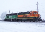 BNSF 2217 & BNSF 2911 Sit Among the Frost and Snow of a Winter Wonderland