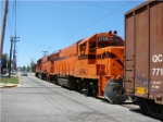 Short South Shore freight navigates street trackage
