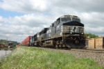 An eastbound stack train by Cresson, with an Oakway SD60 as the third unit.