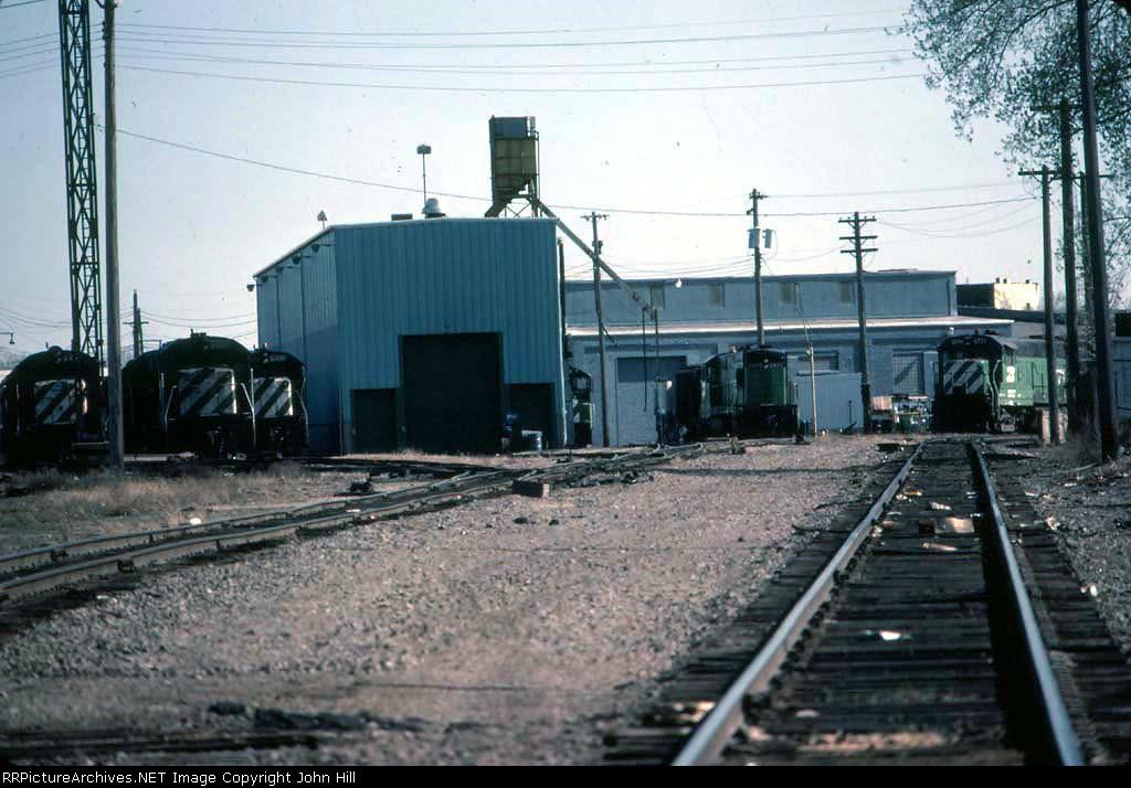 1331-21 BN GE units stored at Ex-GN Mpls Junction engine shop