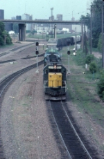 1344-20 Eastbound C&NW freight on BN at Saint Anthony Junction