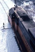 1387-05 Southbound MILW I&M train departs C&NW Western Avenue Yard