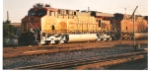 Up close shot of BNSF 7517 at sunrise.