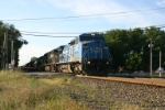 NS 8382 leads first of 3 westbounds with Conrail leaders