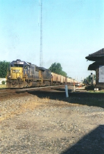 A CSX Grain Train Hits the diamonds at Deshler Ohio At 8:02 AM