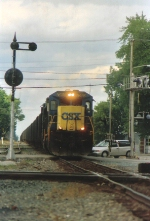 K-185, lead by CSXT 7565, heads south at deshler with ore loads